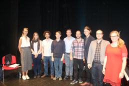 Young composers and masterclass students with Tarik O'Regan