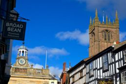 Ludlow town with clock tower and spire