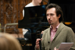 Aaron Breeze and Luciano Williamson in Young Composer workshop. Credit Sam B Cornish.